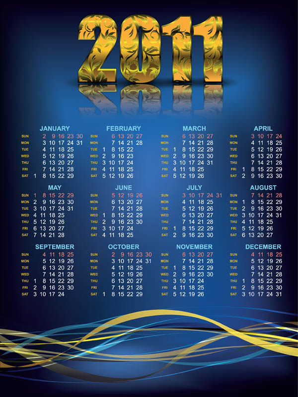 2011 Yearly Calendar Template