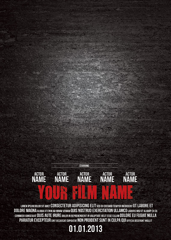 Blank Movie Poster Photoshop Templates Free