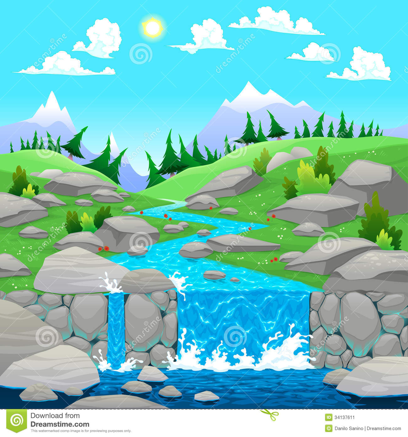 Cartoon Mountain with River