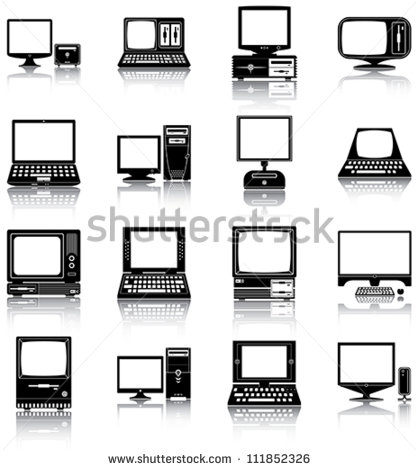 8 Old Computer Vector Images