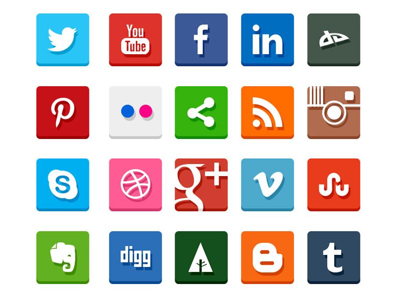 Flat Square Social Media Icons