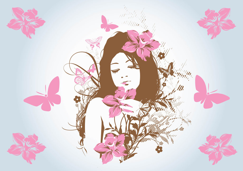 Flower Girl Vector Art
