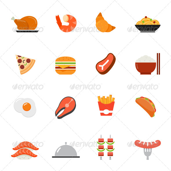 7 Food Icon Flat Design Images