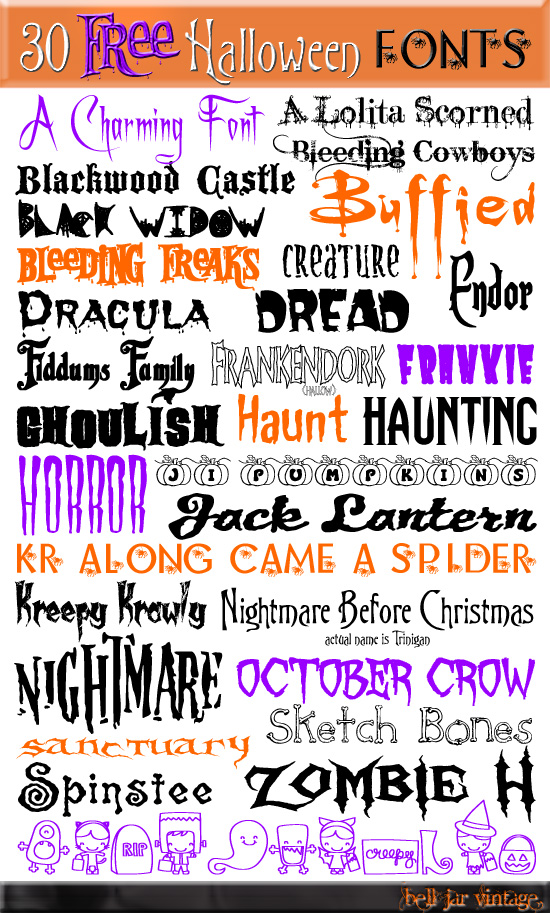 16 Bell Jar Vintage 30 Free Halloween Fonts Images