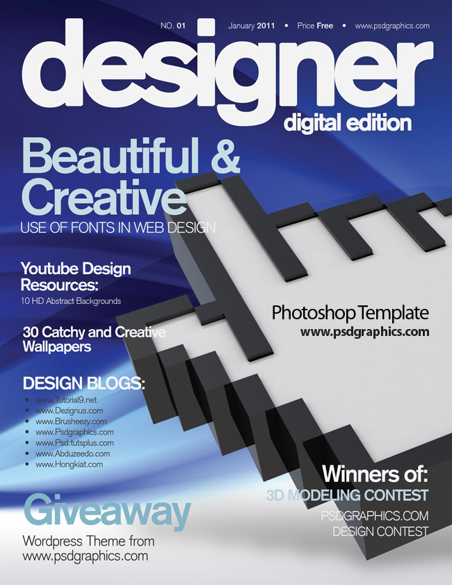11 PSD Photoshop Magazine Template Images