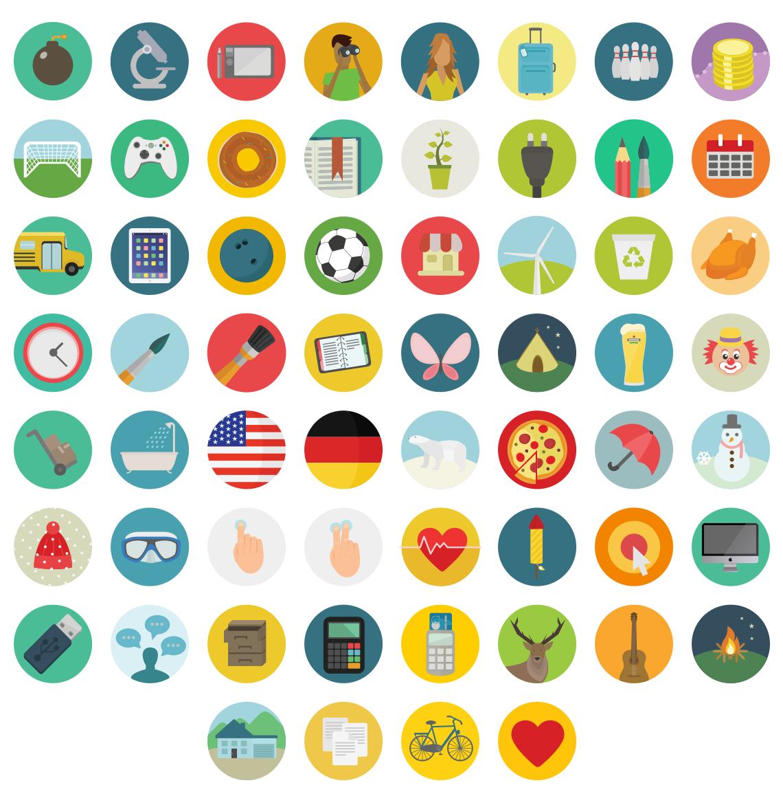12 Flat Round Icons Images