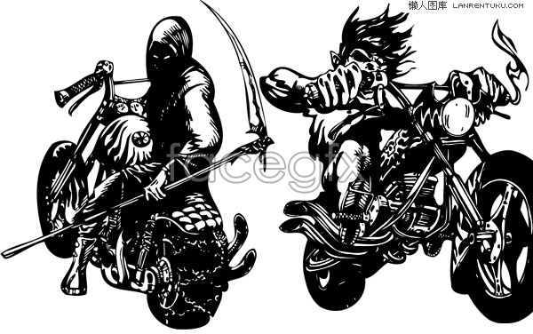 12 Two Motorcycle Vector Images