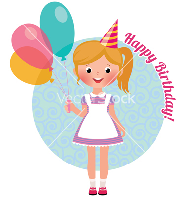 Girl with Birthday Balloons