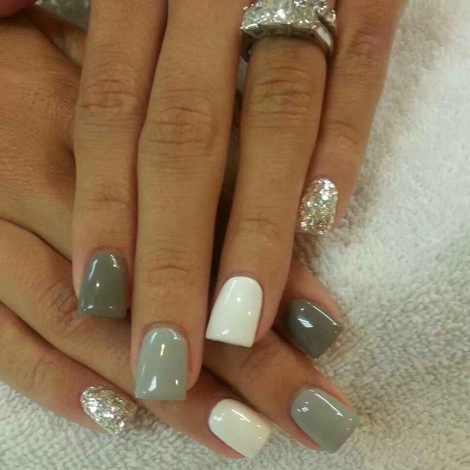 14 Gray And White Nail Designs Images