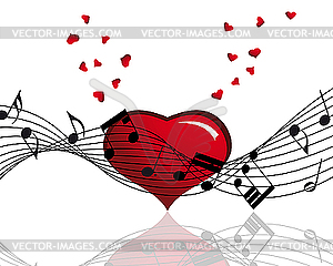 Heart and Music Note Clip Art