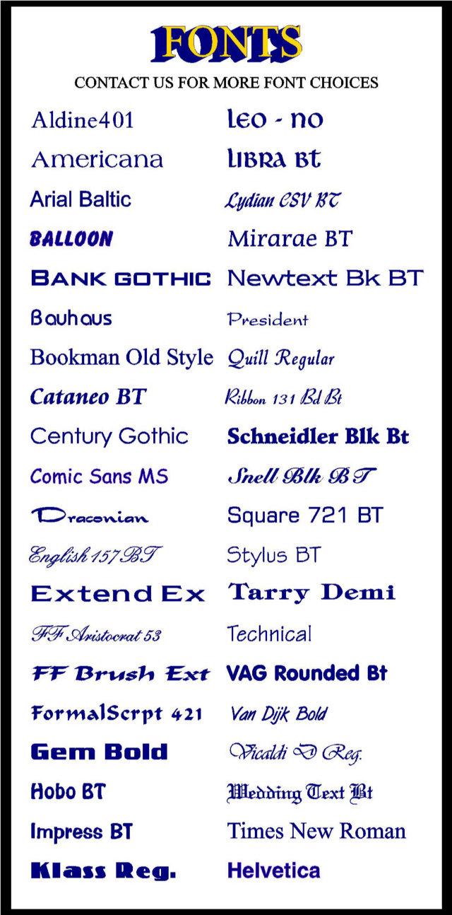 HTML Font Style Chart