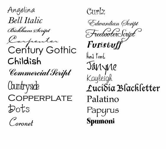 HTML Font Styles List
