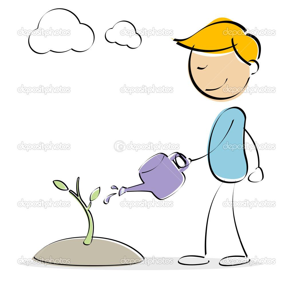 Kid Watering Plants Cartoon