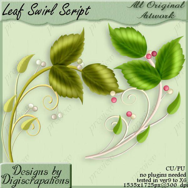 12 Swirl Leaf PSD Images