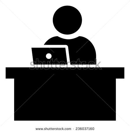 Man Sitting at Desk Vector Icon