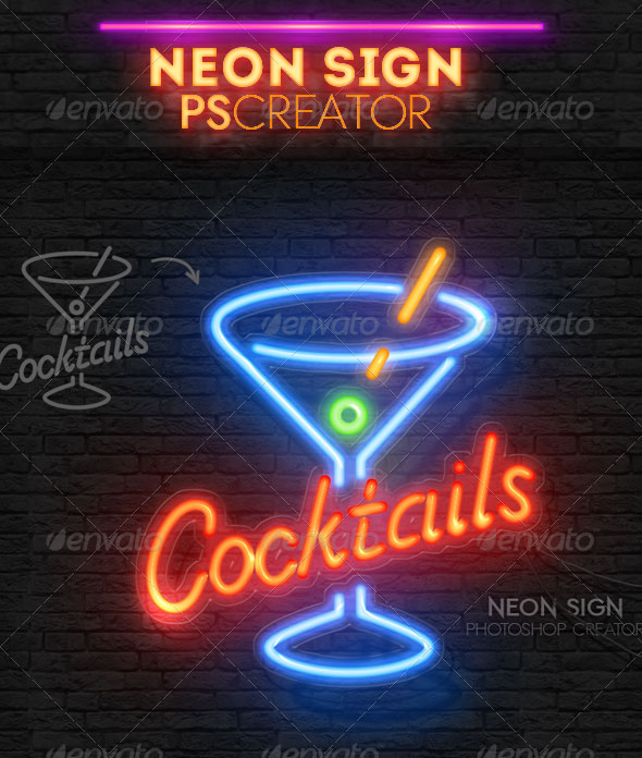 17 Neon Light Effect Photoshop Images - Neon Light Text