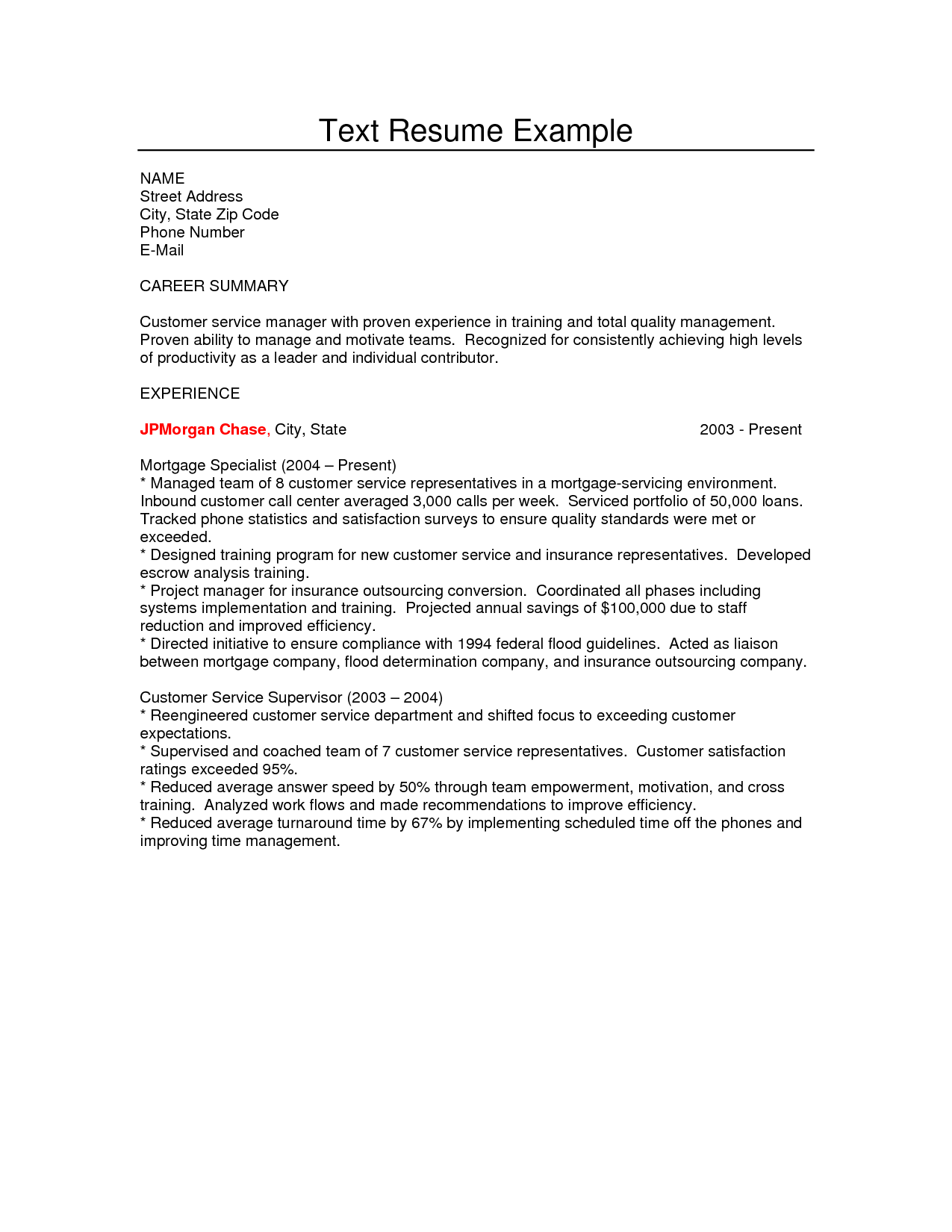 Resume text example