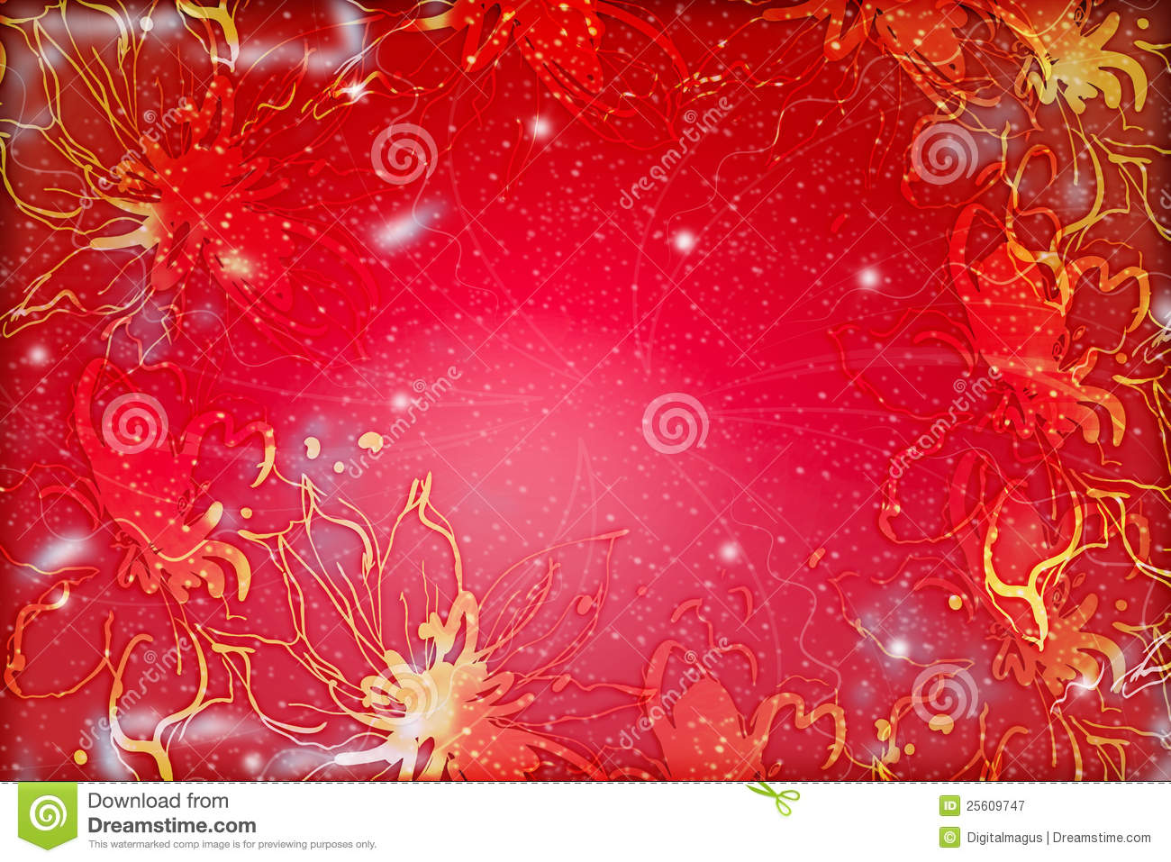 Red Abstract Floral Design