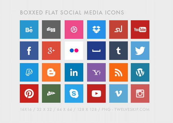 12 Flat Round Social Media Icons Images
