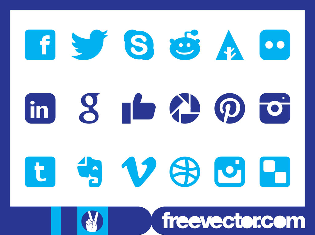 12 Square Social Media Icons Vector Art Images