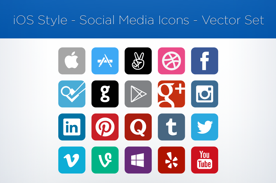 16 Vector Social Media Buttons Images