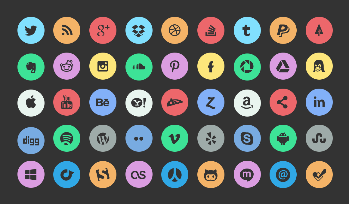 13 Social Media Buttons PSD Images