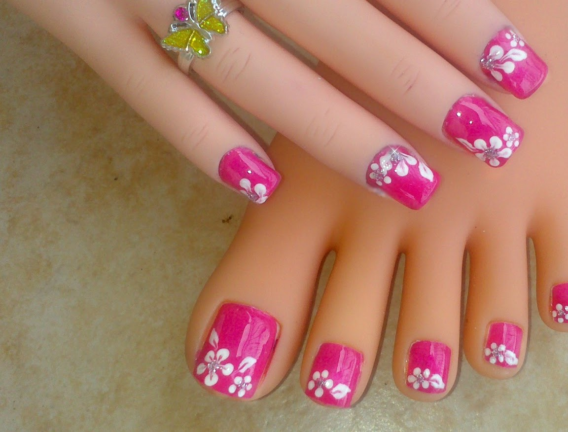 Summer Toe Nail Flower Designs