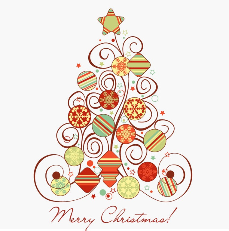 Swirl Christmas Tree Vector