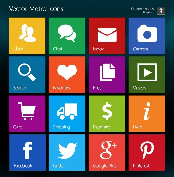 18 Windows 8 Style Icons Images