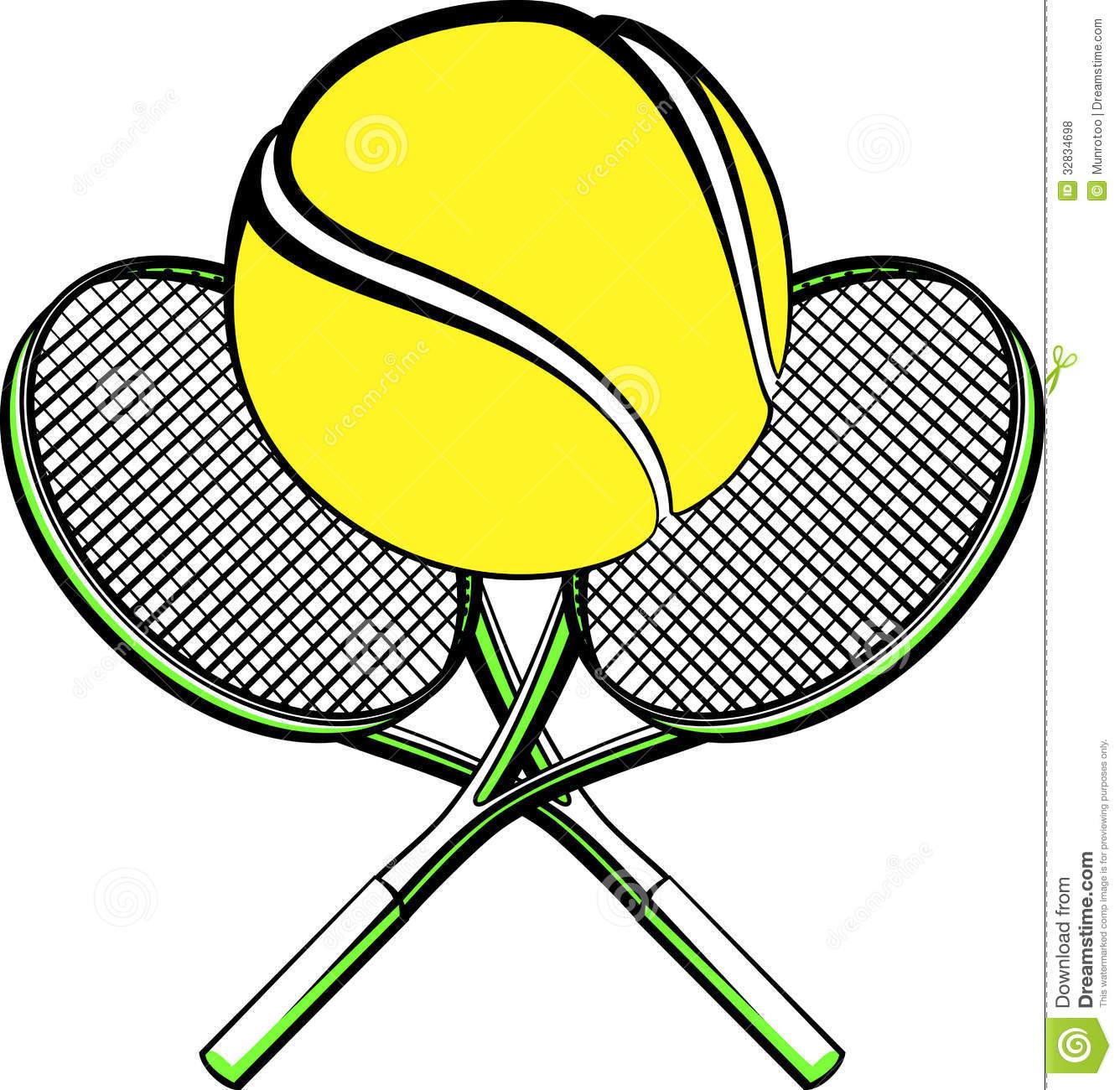 Ball Sitting Next to Tennis Racket Clip Art