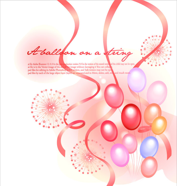 Balloons with Ribbon Background
