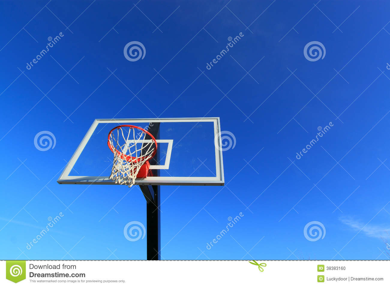 Basketball Hoop with Blue Background