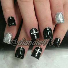 Black Acrylic Nail Designs with Cross