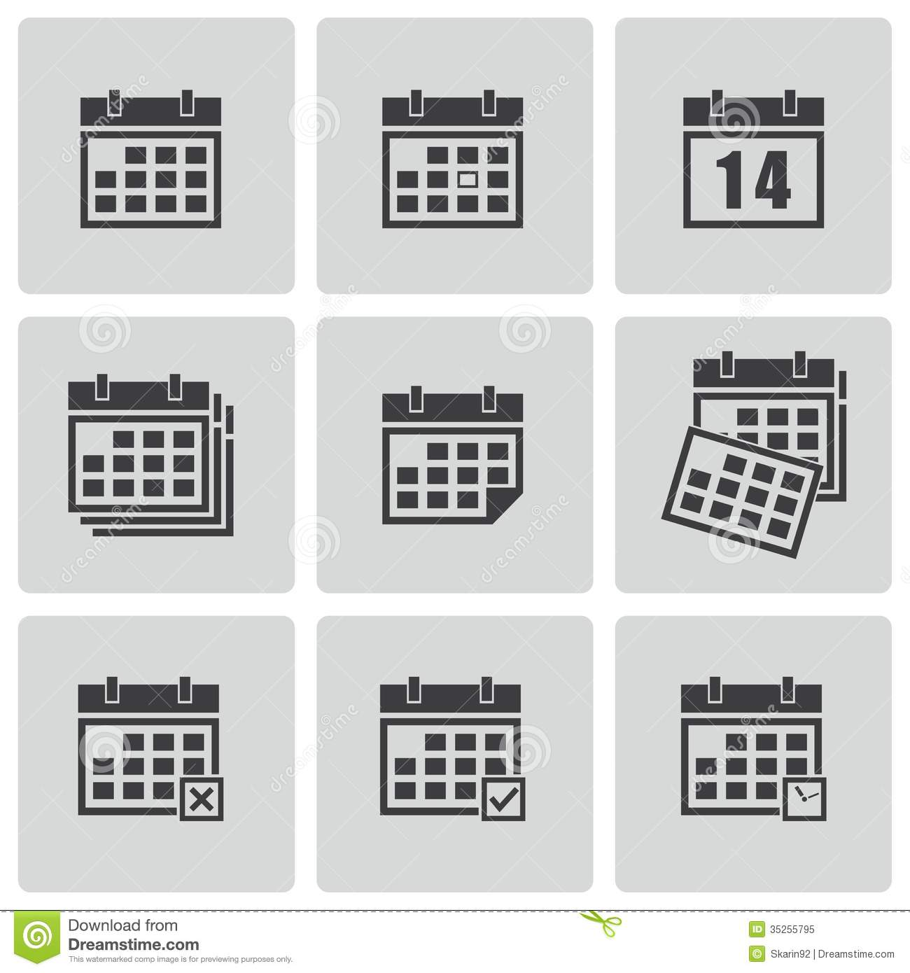 Black Calendar Icon Vector