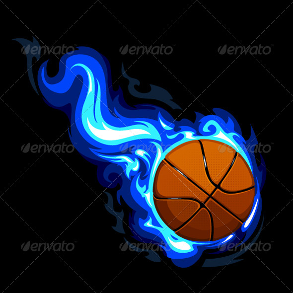Blue Basketball with Fire