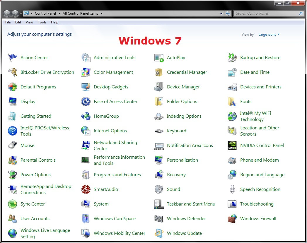 Control Panel Icon Windows 7