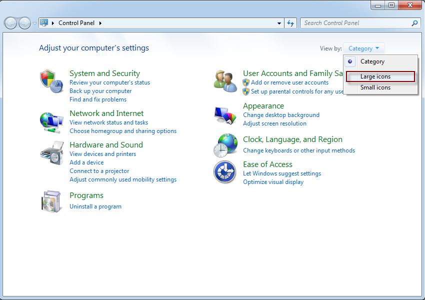 Control Panel On Windows 8