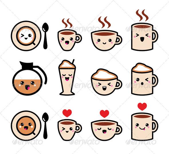Cute Kawaii Coffee Drawings