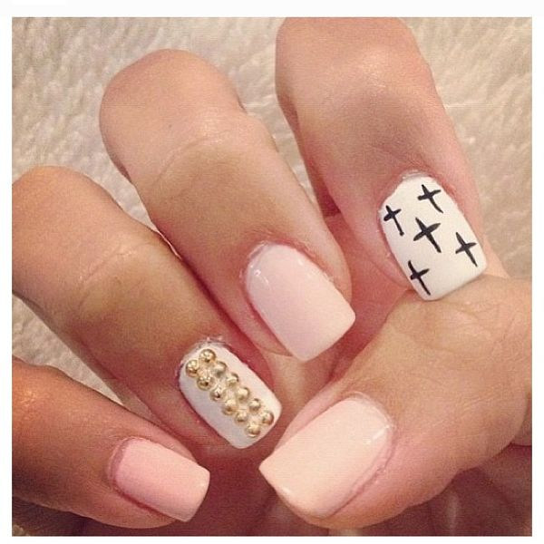 Cute Nail Designs with Cross