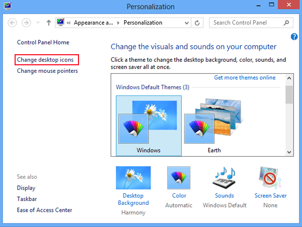 Desktop Control Panel Windows 8