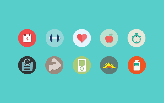 17 Flat Health Icon PSD Images