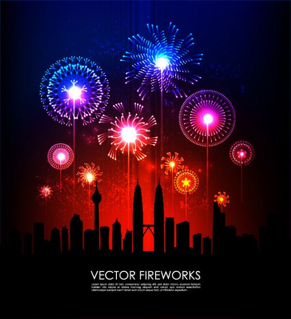 Fireworks Silhouette Vector