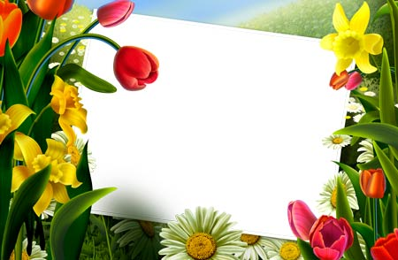 14 Photoshop Frame PSD Flowers Images