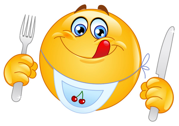 7 Smiley-Face Eating Pie Emoticon Images