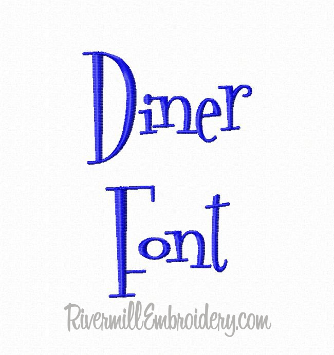 5 Diner Embroidery Font Images