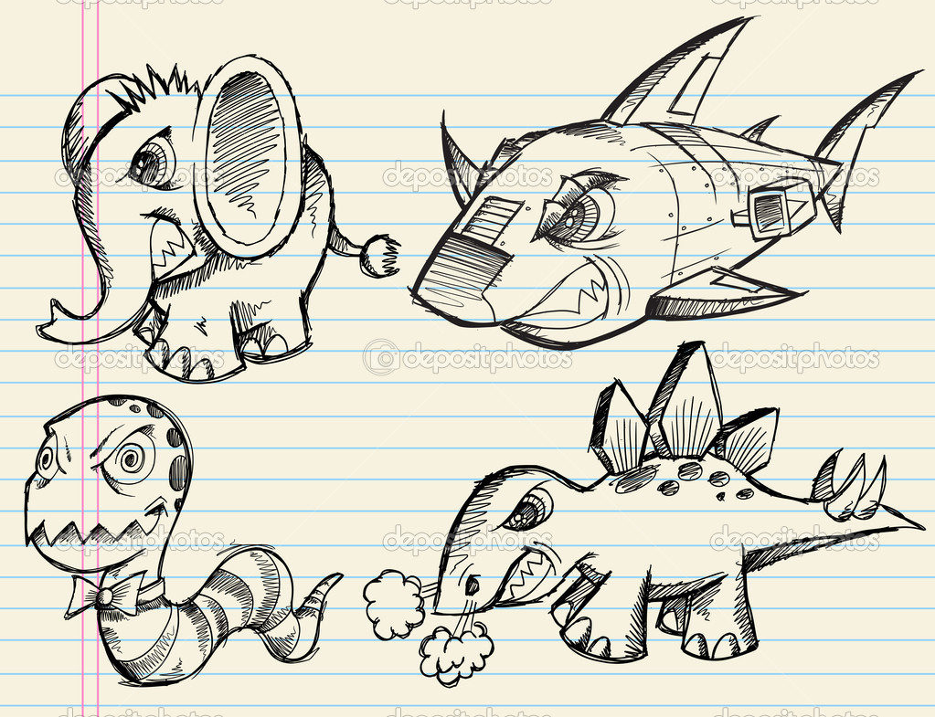 Notebook Doodles Sketch Animals