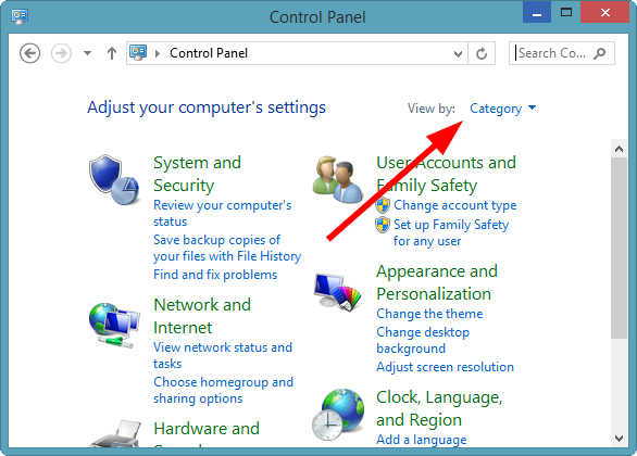 how to use control panel in windows 8