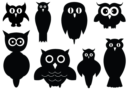 14 Owl Silhouette Vector Images