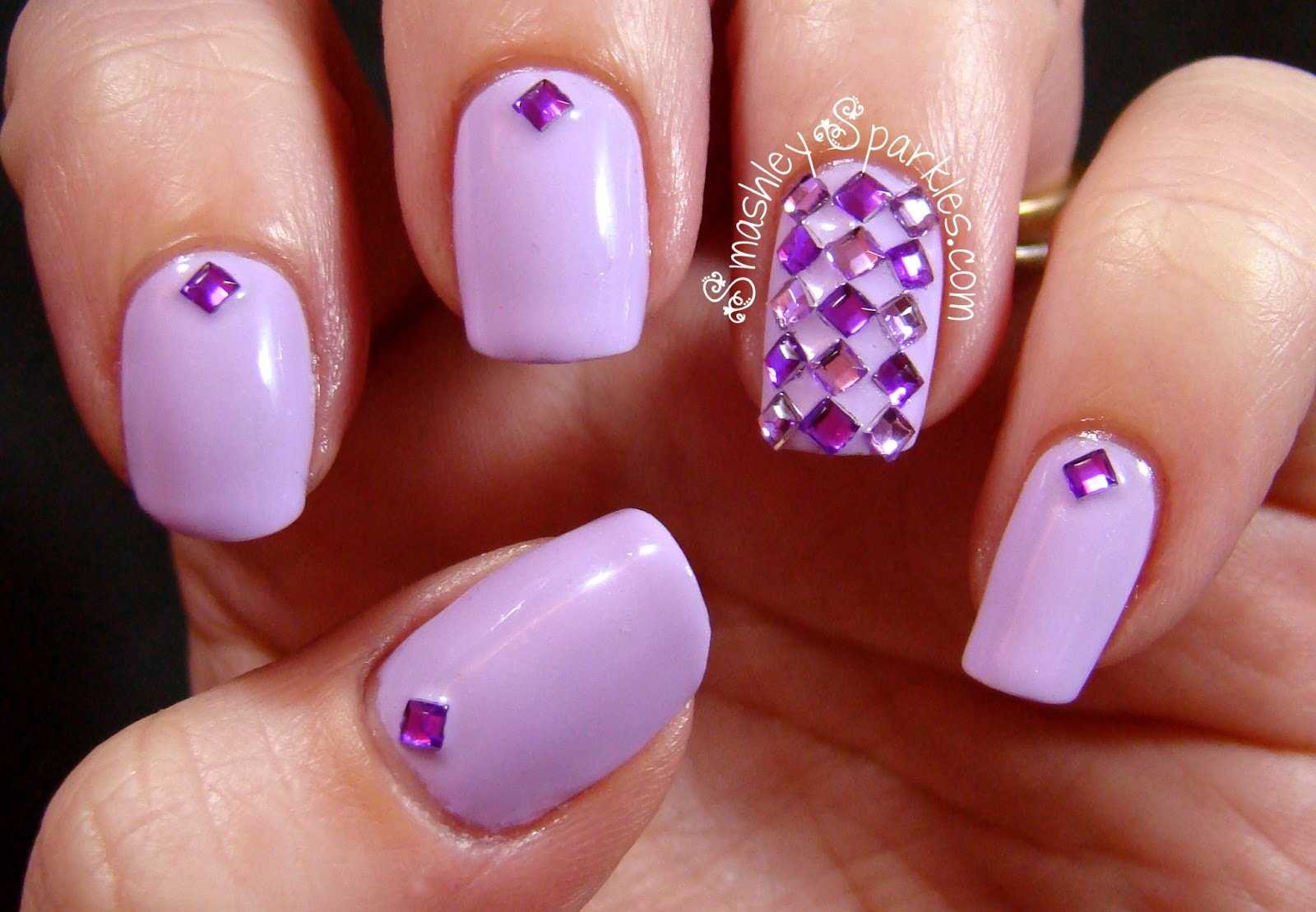 10 Purple Nail Designs With Rhinestones Images