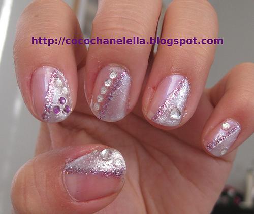 Purple and Silver Nail Art Design
